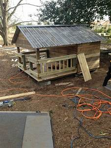 huge dog house w metal roof made of pallets and crates With metal dog house