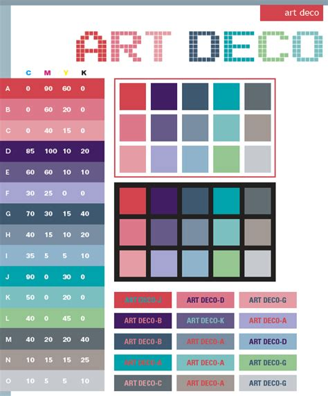 deco paint colours deco color schemes color combinations color palettes for print cmyk and web rgb html