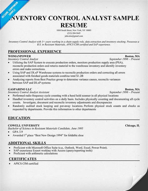 inventory analyst sle resume images frompo