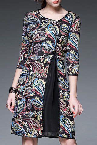 irregular  sleeve embroidery vintage dresses batik