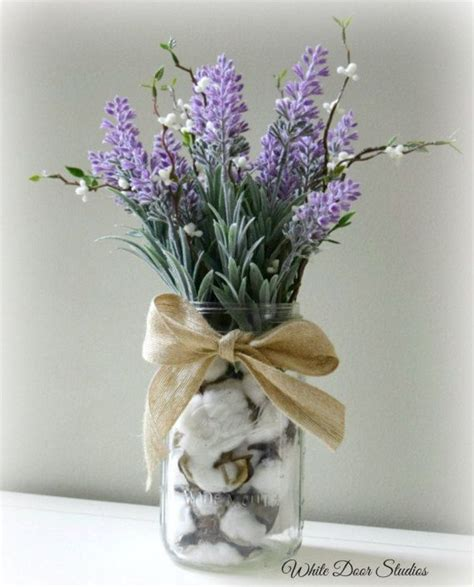 farmhouse lavender arrangement  cotton filled mason jar
