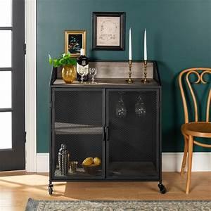 Industrial Gray 33 Inch Bar Cabinet