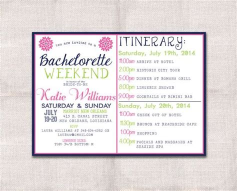 bachelorette party weekend invitation  itinerary