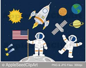 Outer Space Digital Clip Art Astronaut Clip Art Planets and