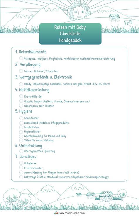 Checkliste Urlaub Alles Im Gepaeck by Flug Mit Baby Checkliste F 252 Rs Handgep 228 Ck Ocllo