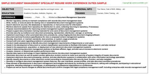 Document Specialist Resume by Risk Management Resumes
