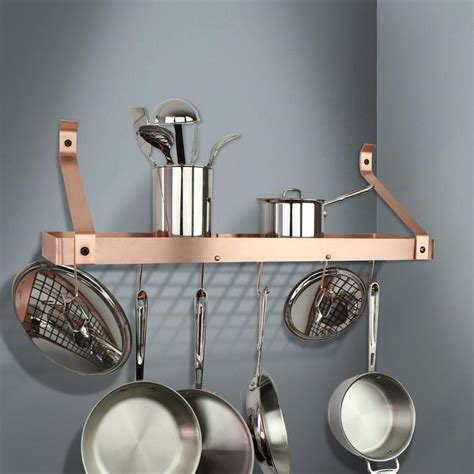 enclume handcrafted   brushed copper gourmet bookshelf wall rack  straight arm