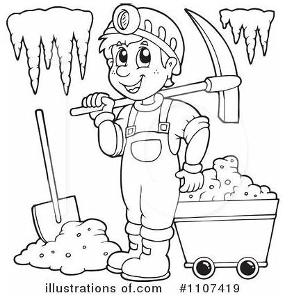 Mining Pages Clipart Coloring Gold Cave Miner