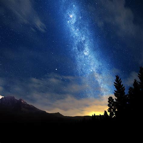 wonderful tonight space star sunset mountain wallpaper