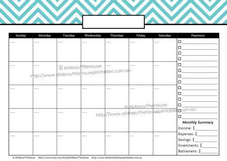 2017 Calendar Printable Monthly Budget