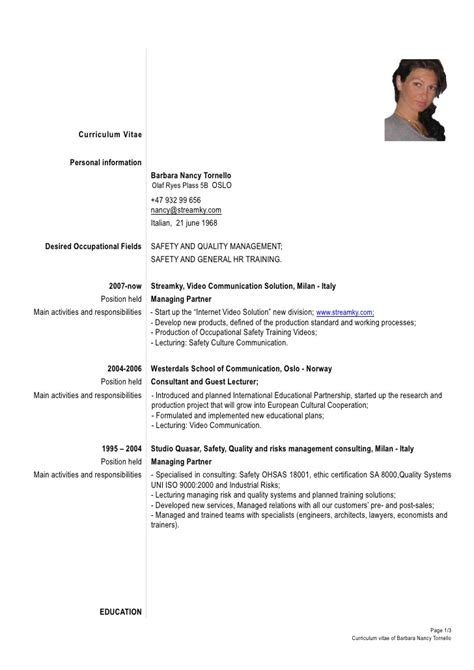 Template Of Formal Resume by Formal Cv Tornello