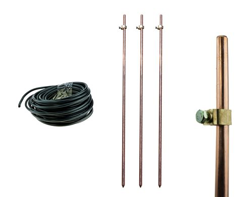 3x earthing grounding rods cls 15m insulated wire for