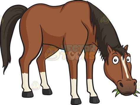 horse eating grass horses cartoon clipart brown limericks eight dark face there hoof reason clip clipground tail stable returned fear