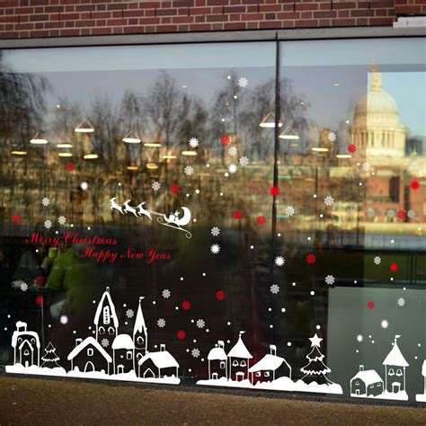 fundecor diy white snow town christmas wall stickers