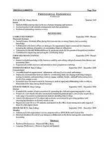 exle of college resume for internship internship resume exle sle