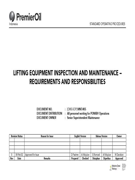 Lifting Equipment Inspection and Maintenance | Crane