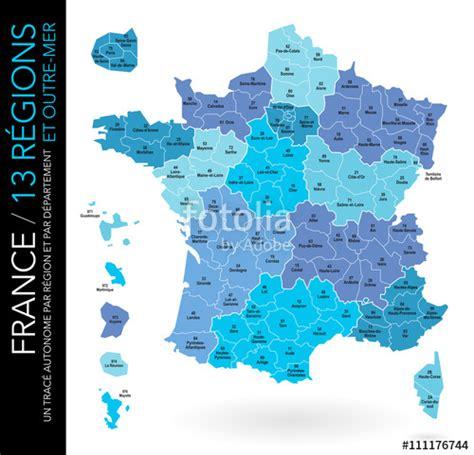 Carte De Region Et Departement Et Chef Lieu quot carte de 13 r 233 gions et outre mer avec