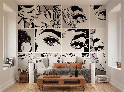ohpopsi black  white pop art wall mural  home
