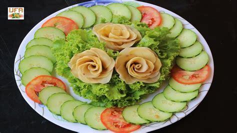 cucumber salad decoration potato flowers with salad cucumber and tomato decoration
