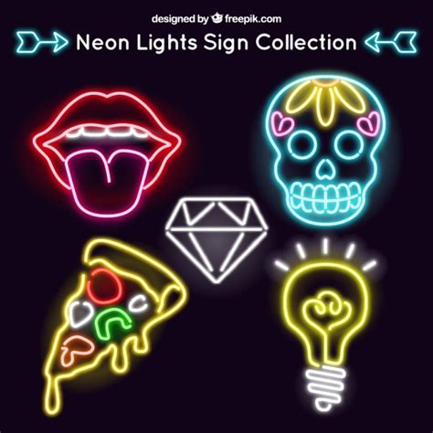 decorative neon signs set of neon signs in modern style vector free