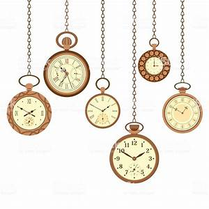 Vintage Pocket Watch Set Stock Vector Art & More Images of ...