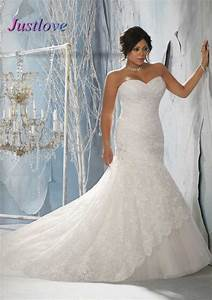 top online sweetheart sleeveless strapless lace plus size With plus size mermaid wedding dresses