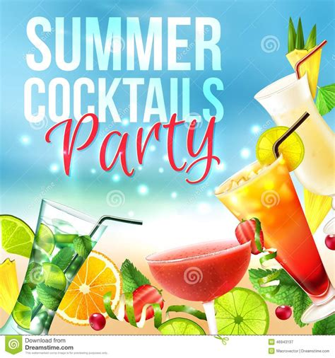 Cocktail Party Poster Stock Vector Illustration Of Juice