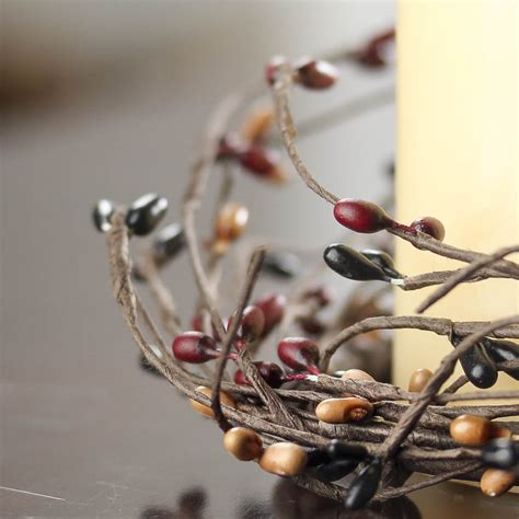 burgundy black  tan pip berry candle ring candles  accessories home decor