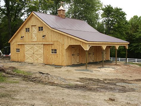 Horse Barn With Metal Roof & Wood Siding