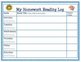 First Grade Homework Reading Log