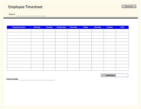 Time Sheet Template 7 Printable Timesheet Timeline Template