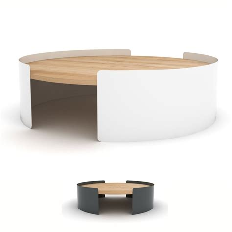 boites de rangement bureau table basse ronde en métal et chêne massif table moon