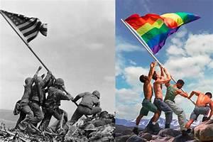 Gay pride adaptation of iconic Iwo Jima Marines photo ...