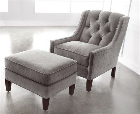 Cute Grey Merrill Ottoman With Chair From Fabric Interior