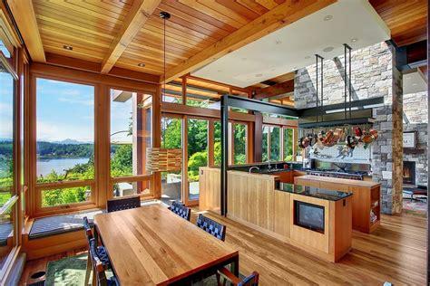 beautiful house of wood and steel on bainbridge island