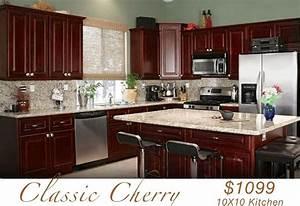 All Wood KITCHEN CABINETS 10x10 RTA Classic Cherry eBay