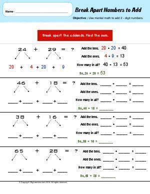 worksheet break  numbers  add  mental math