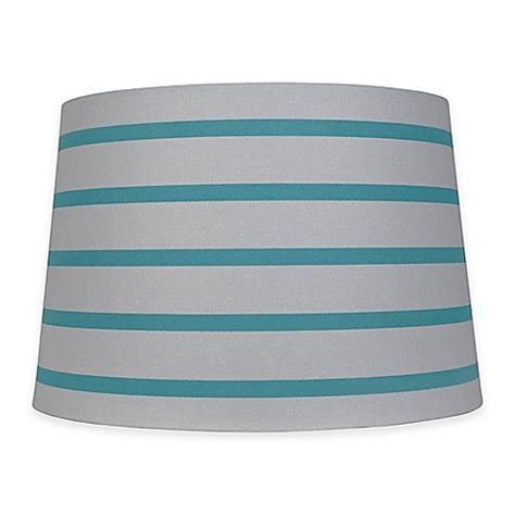 teal and white l shade mix match large 15 inch striped hardback drum l shade
