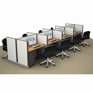 Clusters Of 8 Workstation Cubicle Telemarketing Stations - Contemporary Office Desks