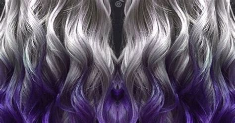 Metallic Silver Hair Color Melted Into Royal Purple Hair