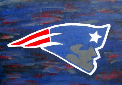 handpainted canvas painting new england patriots logo