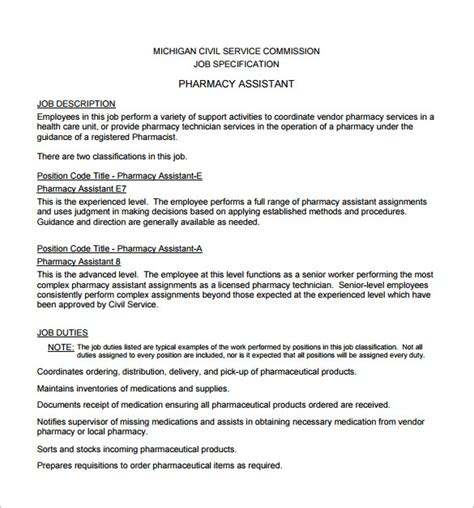 pharmacist description template 10 free word pdf