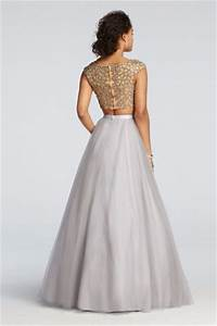 david39s bridal two piece beaded prom crop top with tulle With two piece wedding dresses david s bridal