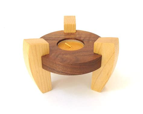 wood tea light candle holder minimalist modern decor tea