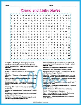sound and light waves word search puzzle by puzzles to