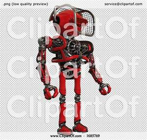Bot Containing Oval Wide Head And Red Horizontal Visor And