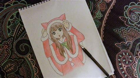 draw  cute anime girl   cat santa costume