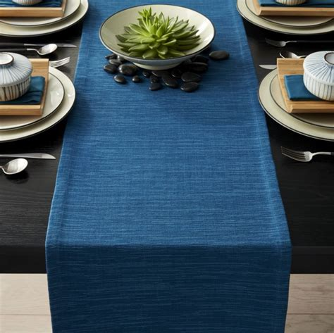 dining room stools grasscloth 90 quot corsair blue table runner crate and barrel