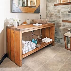 Fabriquer Meuble Bois Facile : comment fabriquer un meuble lavabo en bois diy pinterest meuble lavabo pins blancs et lavabo ~ Nature-et-papiers.com Idées de Décoration