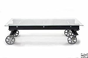 amazoncom jreal industrial chic collection rolling With rolling glass coffee table